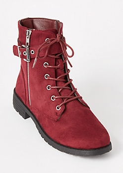 Burgundy Wrap Buckle Combat Boots