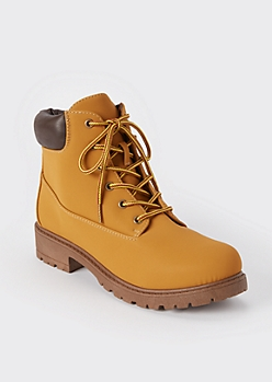 Camel Lace Up Work Boots