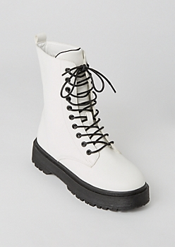 White Faux Leather Platform Combat Boots