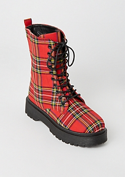 Red Plaid Print Platform Combat Boots