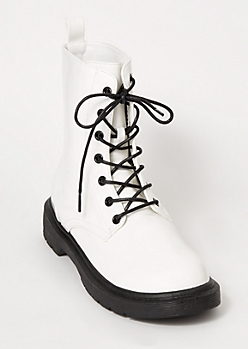 White Lace Up Combat Boots