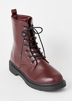 Burgundy Lace Up Combat Boots
