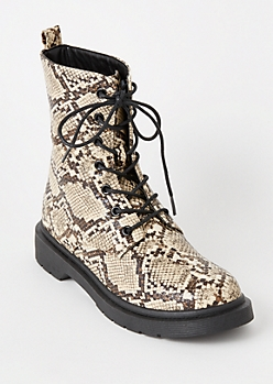 Snakeskin Print Lace Up Combat Boots