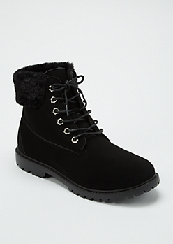 Black Faux Fur Trim Work Boots