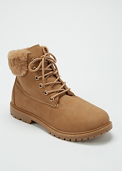 Camel Faux Fur Trim Work Boots