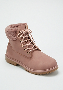 Mauve Faux Fur Trim Work Boots