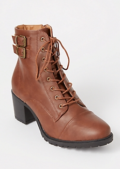 Cognac Double Buckle Combat Booties