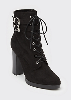 Black Lace Up Buckle High Heel Booties