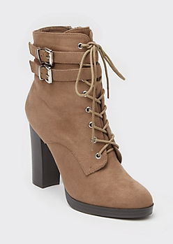 Taupe Lace Up Buckle High Heel Booties