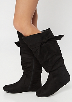 Black Bow Slouchy Knee High Boots - Wide Width
