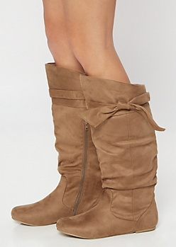 Tan Bow Slouchy Knee High Boots