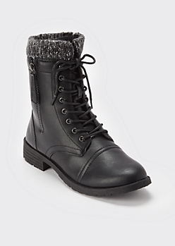 Black Ribbed Knit Cuff Combat Boots