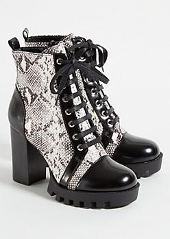 Snake Skin Print Lace Up Platform Heeled Boots