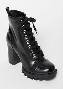 Black Lug Lace Up Higher Booties