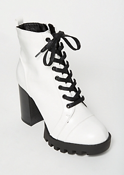 White Lug Lace Up Higher Booties