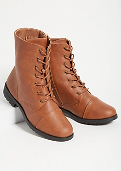 Cognac Lace Up Combat Boots