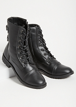 Black Buckled Strap Combat Boots