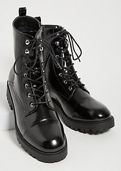 Black Patent Combat Boots
