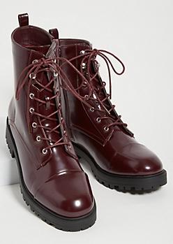 Dark Red Patent Combat Boots