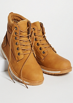 Camel Lace Up Ribbed Knit Padded Boots