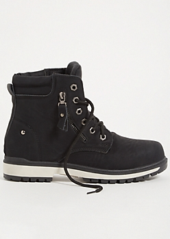 Black Side Zip Lace Up Padded Boots