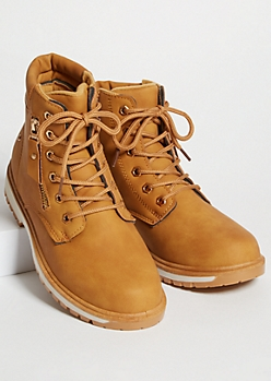 Camel Exposed Zipper Lace Up Padded Boots