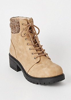 Camel Sweater Back Combat Boots