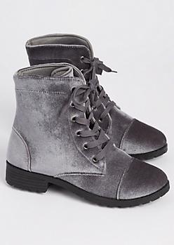 Gray Velvet Combat Boots
