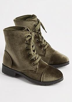 Olive Velvet Combat Boots