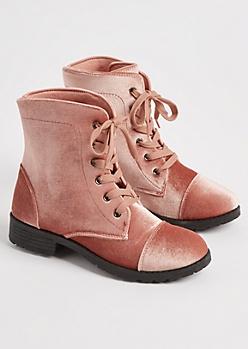 Pink Velvet Combat Boots