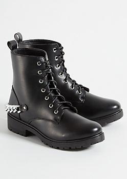 Black Chain Combat Boots