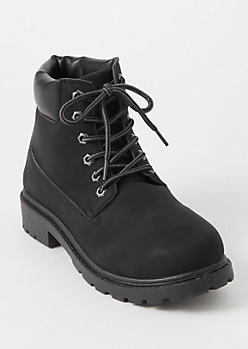Black Lace Up Lug Work Boots
