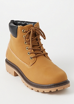 Camel Lace Up Lug Work Boots