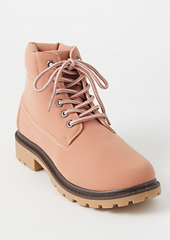 Pink Lace Up Lug Work Boots