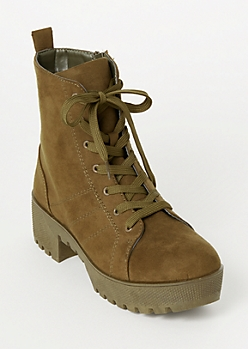 Olive Faux Suede Platform Booties