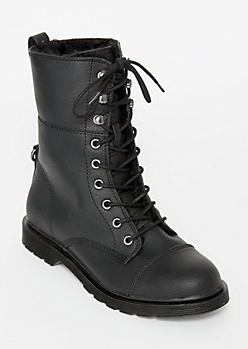 Black Faux Fur Lined Combat Boots