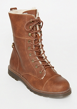 Brown Faux Fur Lined Combat Boots