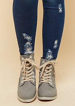 Gray Perforated Lace Up Boots