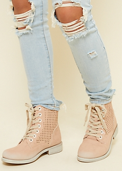 Light Pink Perforated Lace Up Boots