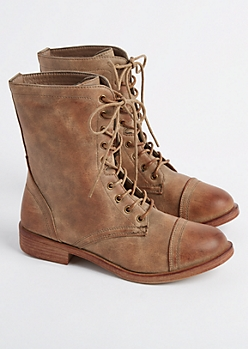 Taupe Distressed Faux Leather Combat Boots