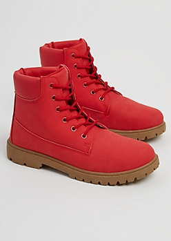 Red Faux Leather Hiking Boots
