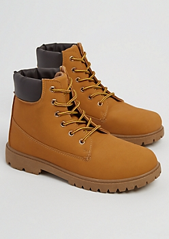 Tan Faux Leather Hiking Boots