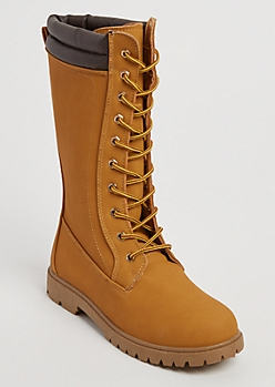 Tan Lace-up Hiker Booties