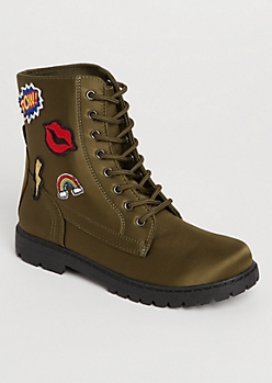 Olive Sateen Patch Combat Boots