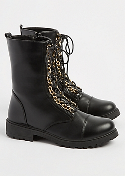 Gold Metal Chain Combat Boots