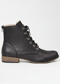 Black Lace Up Short Combat Boots