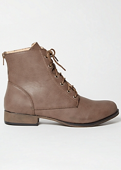 Taupe Lace Up Short Combat Boots