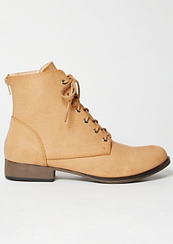 Tan Lace Up Short Combat Boots