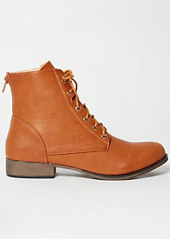 Cognac Lace Up Short Combat Boots