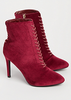 Burgundy Faux Suede Lace Up Booties